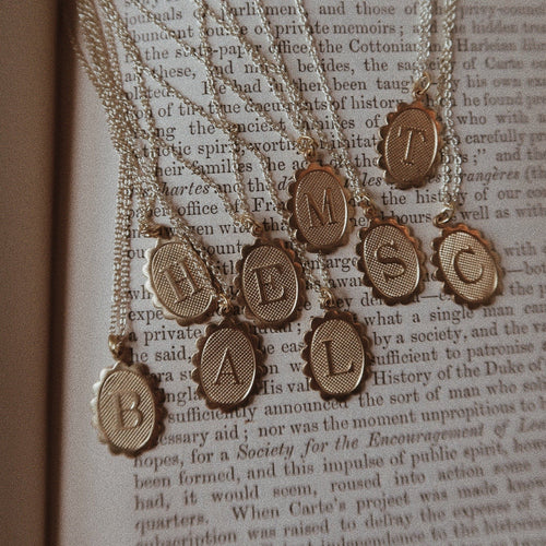 Vintage Brass Initial Necklace