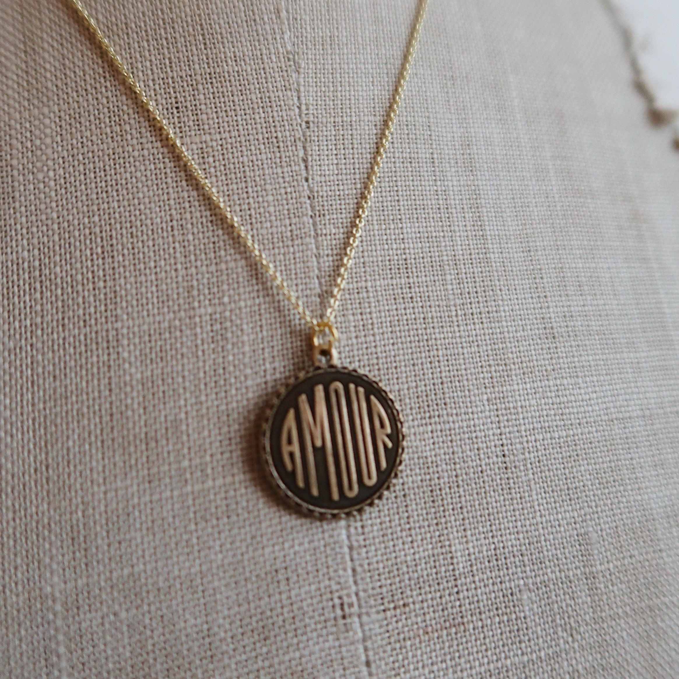 Amour Antiqued Brass Necklace