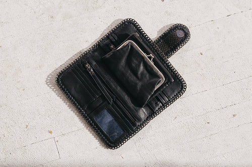 Ipanema Leather Chain Wallet in Black by Uma & Leopold