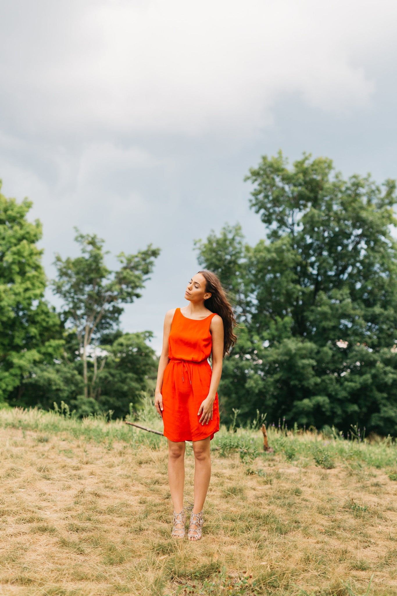 Uma & Leopold Aquarella Dress in Coral Carmine Bali Laut