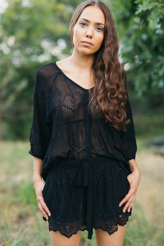 Boho Lace Blouse in Black