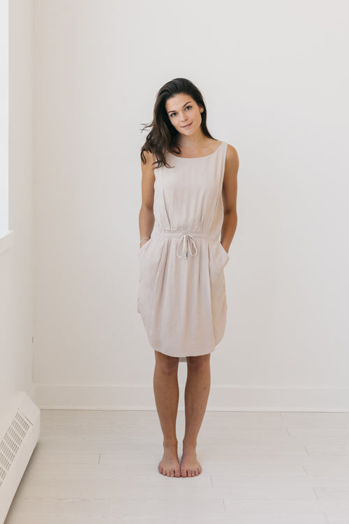 Uma & Leopold Aquarella Dress in Blush Bali Laut