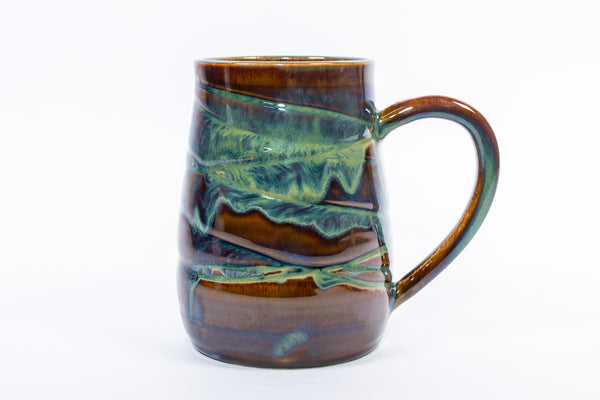 Wave Textured Forest Green Handmade Pottery Mug