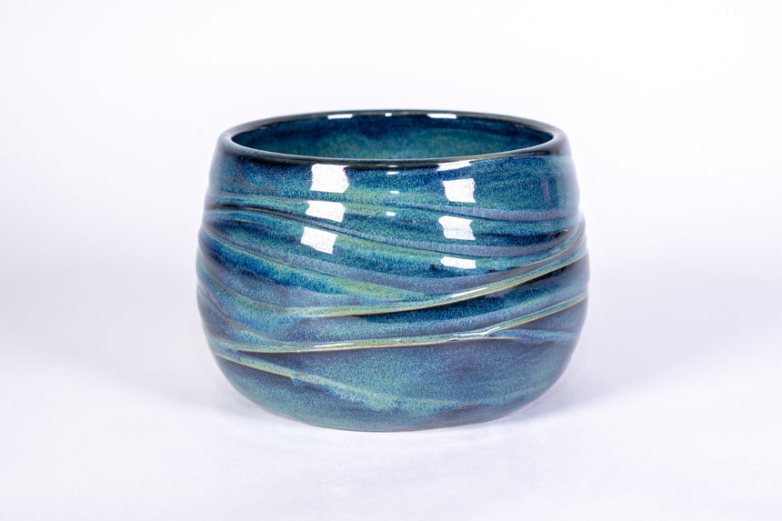 Blue and Green Wave Bowl