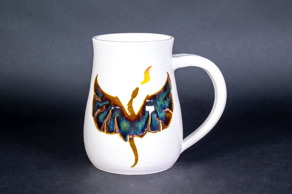 Dragon mug in white matte glaze