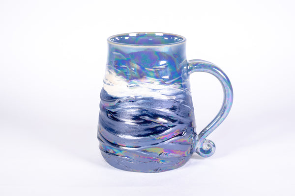 Blue Pearl Wave Textured Mug