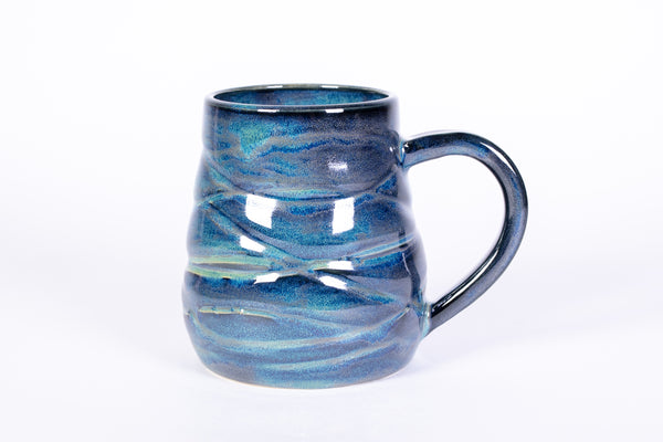 8-10 ounce Blue and Green Wave textured mug