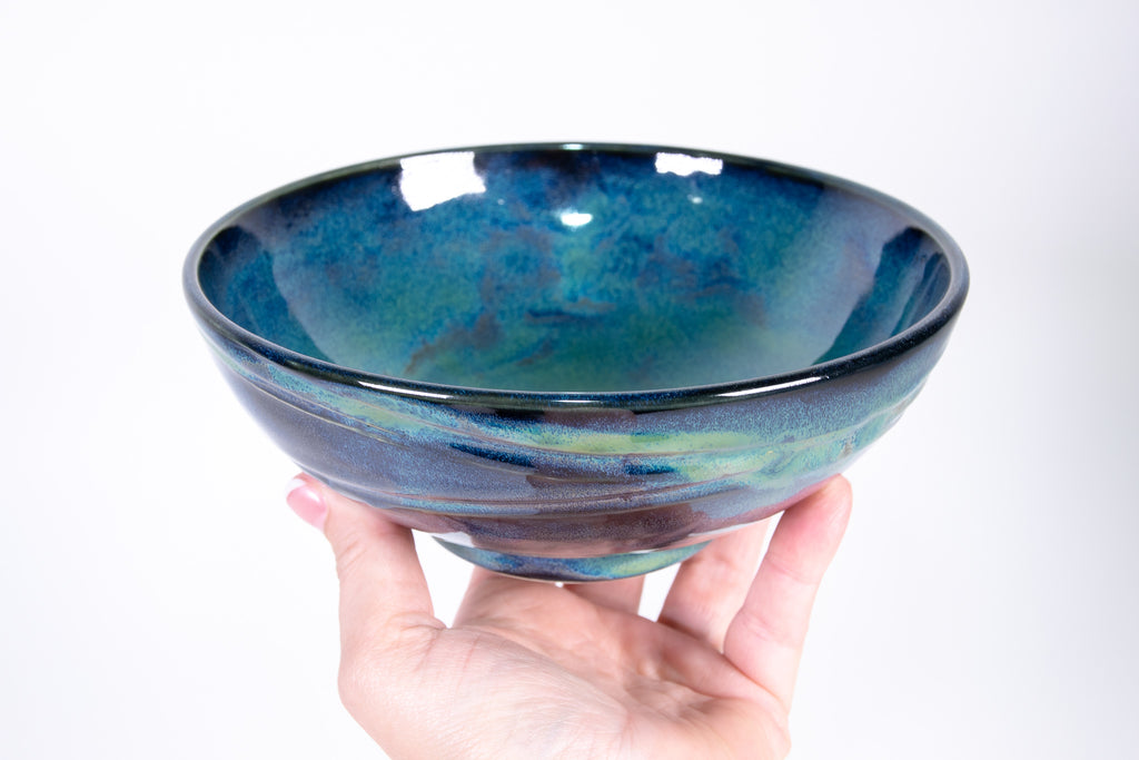 Stackable Wave Textured Blue and Green Pottery Soup Bowl