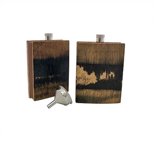 Barrel Wood and Buffalo Hide Flask