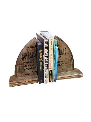 Reclaimed Bourbon Barrel Handcrafted Wood Bookends