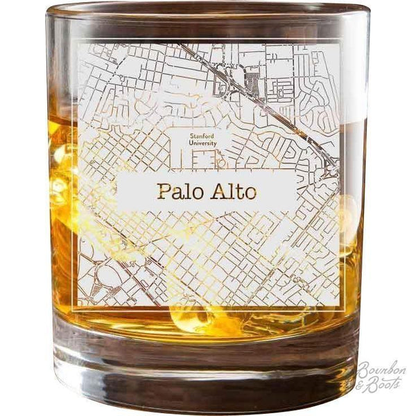 College Town Etched City Map Cocktail Glasses - Barware