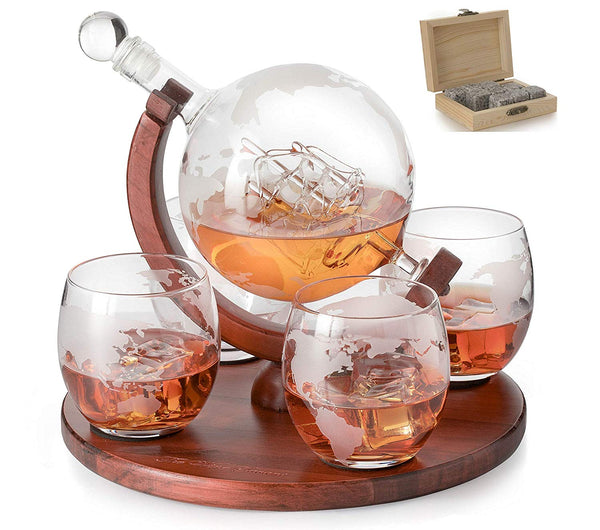 Globe decanter with 4 glasses and whiskey stones