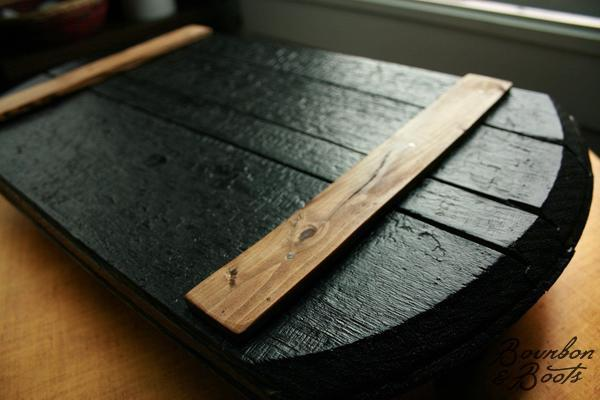 Bourbon Barrel Wooden Serving Tray With Rustic Iron Handles