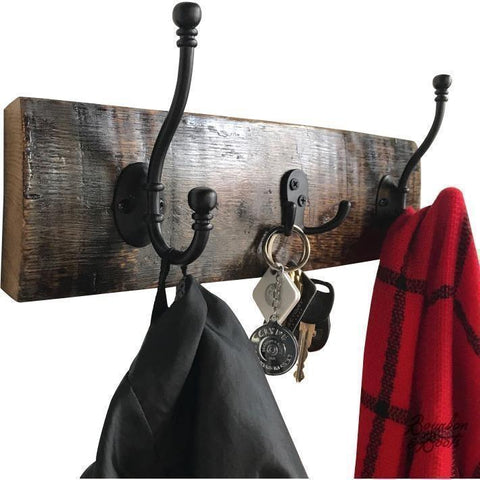 Reclaimed Bourbon Barrel Stave Oak Coat, Key, and Hat Rack - Wall Decor
