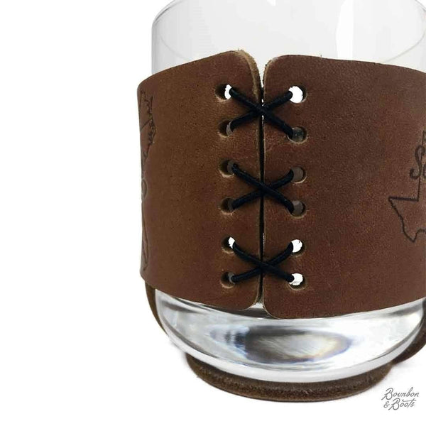 Southern Inspired Rocks Glass Set w/ Leather Sleeve - Barware