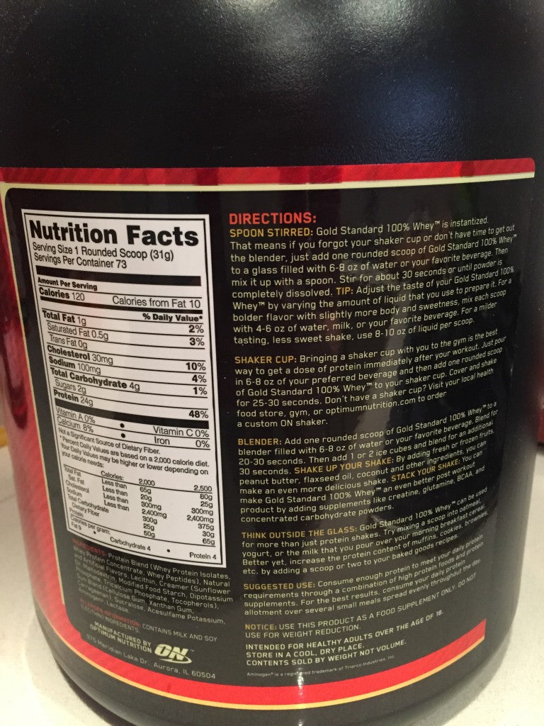 Optimum Nutrition Gold Standard Nutritional Facts