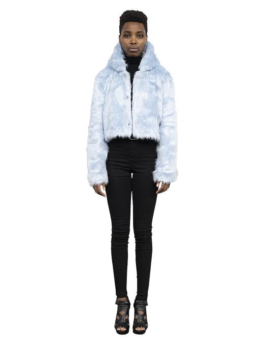 PASTEL BLUE HOODED FAUX FUR JACKET - Story Of Lola