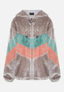 FAUX FUR CHEVRON HOODED JACKET - GREY - Story Of Lola