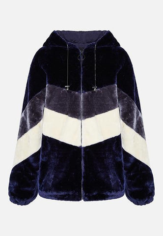 FAUX FUR CHEVRON HOODED JACKET - NAVY - Story Of Lola