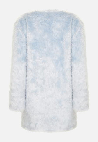 PASTEL BLUE FAUX FUR COAT - Story Of Lola