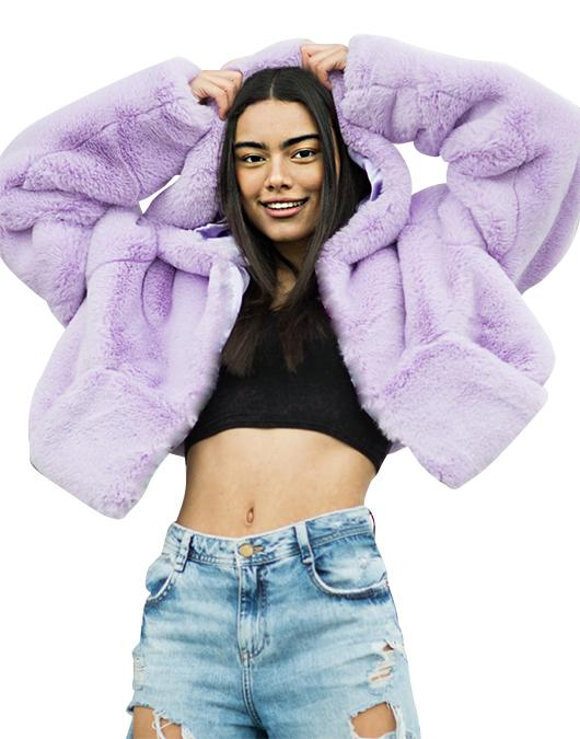 THE XENA LILAC CROPPED HOODED JACKET - Story Of Lola