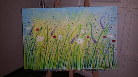 Lavender-Whimsy-Live-Painting-Art-Battle-Sold-for-Charity-SickKids-Emily's-House-Gabriel's-Gift-Whimsical-Flowers-Plants-Blue-Green-Yellow