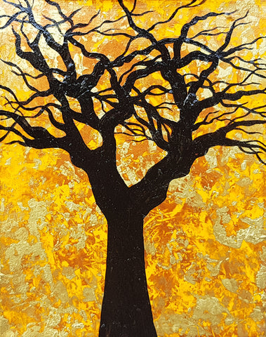 The-Root-of-Evil-by-Alexandra-Romano-Original-Amazing-Tree-Painting-Abstract-Expressionism-Impressionism-Artwork-Yellow-Gold-Black-Copper-Beautiful-Art-Gallery-In-Toronto-Canada-home-decor
