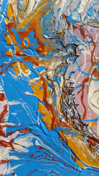 Abstract Expressionism Art Contemporary Modern Fluid Painting Colourful Tectonic Plates Nature Texture