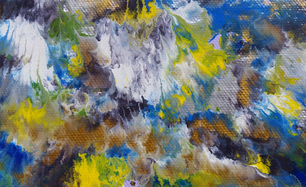 Abstract Expressionism Art Contemporary Modern Painting Volcano Volcanic Nature Sky Daytime Day Colourful Enamel Spray Paint Canvas Clouds