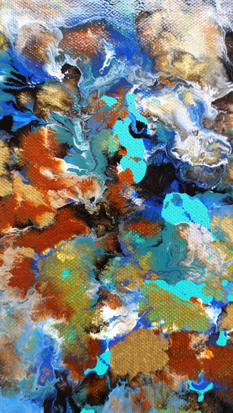 Abstract Fluid Painting Mixed-Media Enamel Paint on Canvas Blue Waves Ocean Water Relaxing Calm Colourful High Gloss