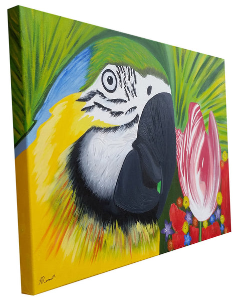 Bird of Paradise Original Impressionism Painting Animal Art Floral Tropical Sides Painted Gallery Wrapped Canvas