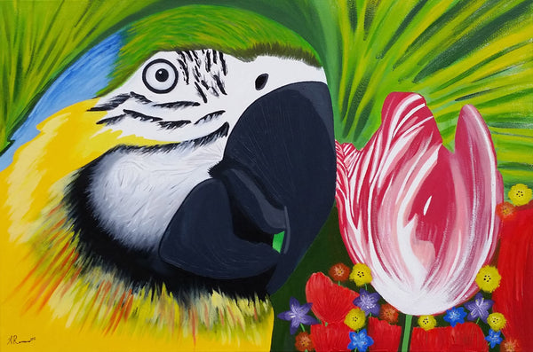 Bird of Paradise Original Impressionism Painting Animal Art Floral Tropical Colorful
