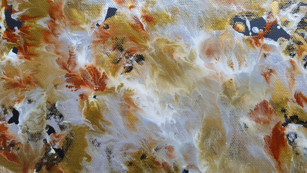 Fluid Painting Mixed Media Metallic Colours Modern Art Gold Silver Copper White