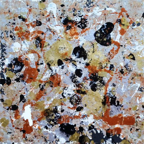 Fluid Painting Mixed Media Metallic Colours Modern Art Gold Silver Copper White Black