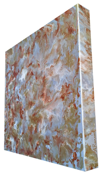 Fluid Painting Mixed Media Metallic Colours Modern Art Gold Silver Copper White Enamel and Spray Paint on Canvas