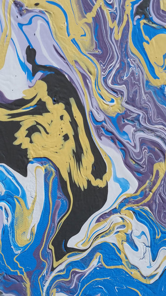 Free Flow Abstract Art Fluid Painting Tryptych 3 Panel Artwork Yellow Blue White Purple Colourful