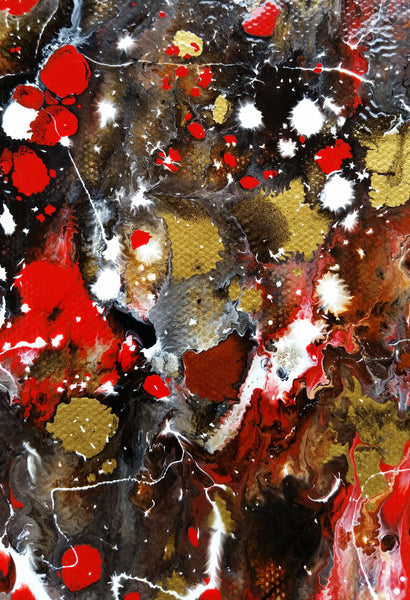 Modern Abstract Art Original Painting Chinese New Year Red Dragon Fireworks Festival Enamel on Canvas