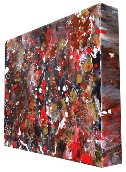Modern Abstract Art Original Painting Chinese New Year Red Dragon Fireworks Festival Sides Painted