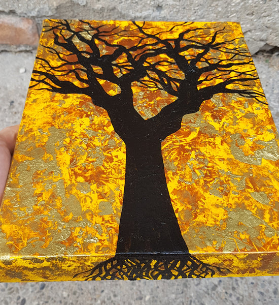 The-Root-of-Evil-by-Alexandra-Romano-Original-Amazing-Tree-Painting-Abstract-Expressionism-Impressionism-Artwork-Yellow-Gold-Black-Copper-Beautiful-Art-Gallery-In-Toronto-Canada-witch-tree-roots-black-branches