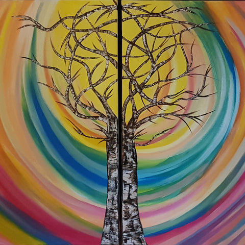 Tree-of-Knowledge-and-Paradise-Alexandra-Romano-Art-Original-Beautiful-Impressionism-Artwork-on-Canvas-Tree-of-Life-Colourful-Oil-Paintings-for-Sale