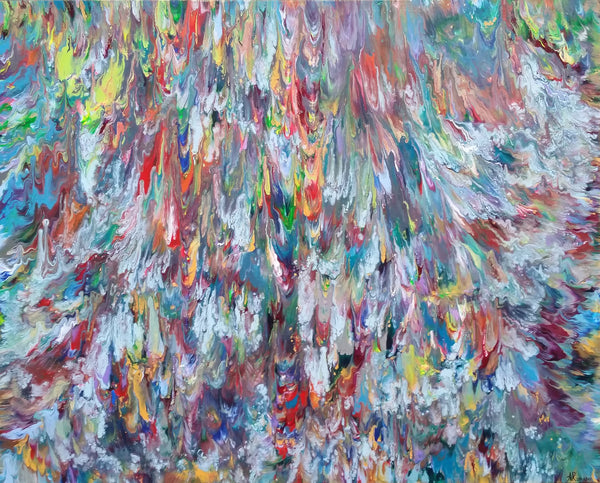 Triton's Revenge Sea Ocean Abstract Expressionism Fluid Acrylic Large Painting Modern Art 60x40 inch Canvas