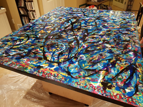 extra large huge abstract statement painting ready to hang original artwork available for purchase toronto artis