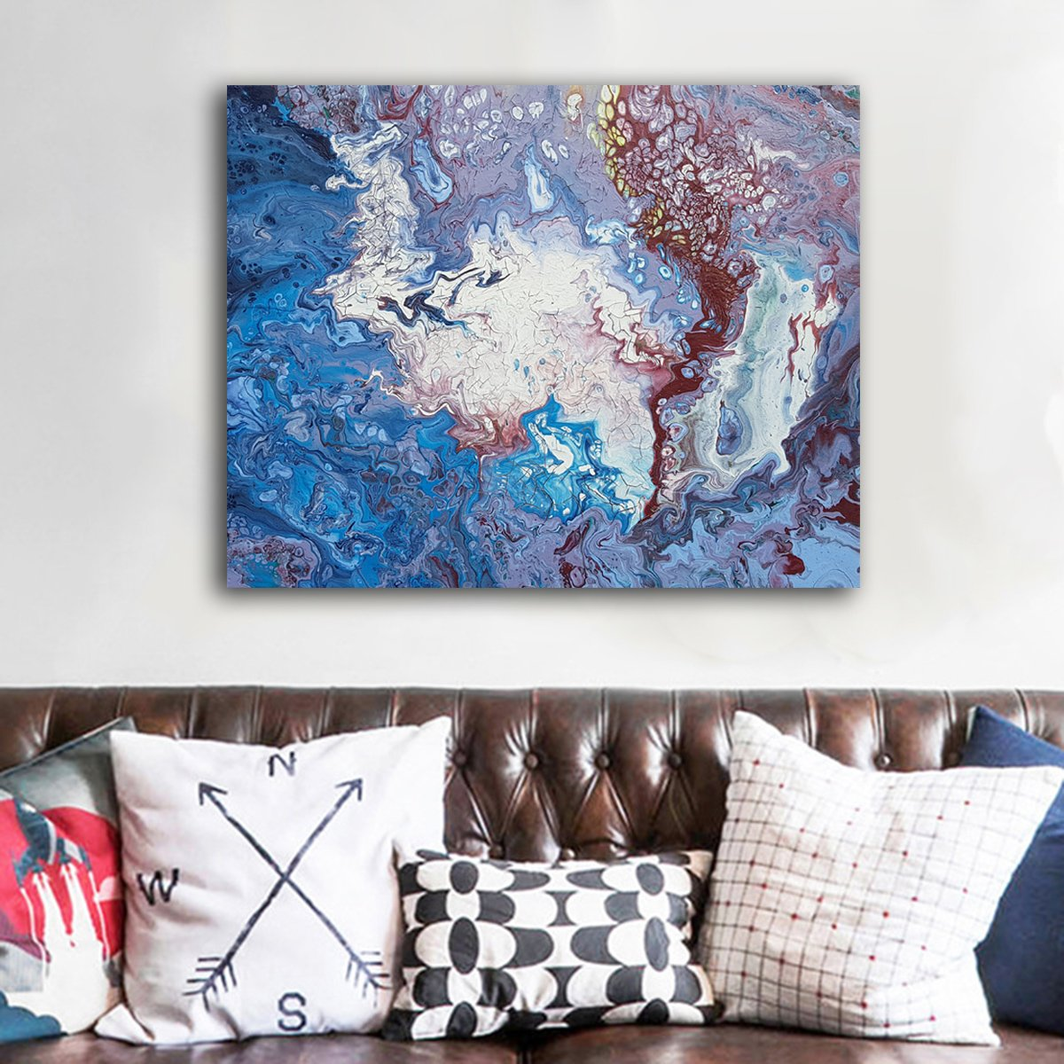 Netune's Nemesis Original Large Abstract Expressionism Paintings Buy Artwork Toronto Art Gallery Canadian Artist Blue Painting
