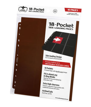 Ultimate Guard 18-Pocket Pages Side-Loading Brown