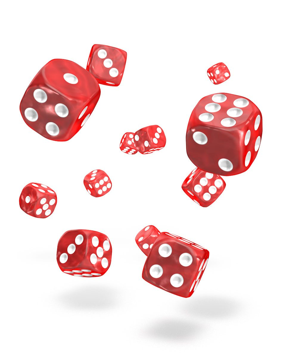 Oakie Doakie Dice D6 12 mm Marble Red 36