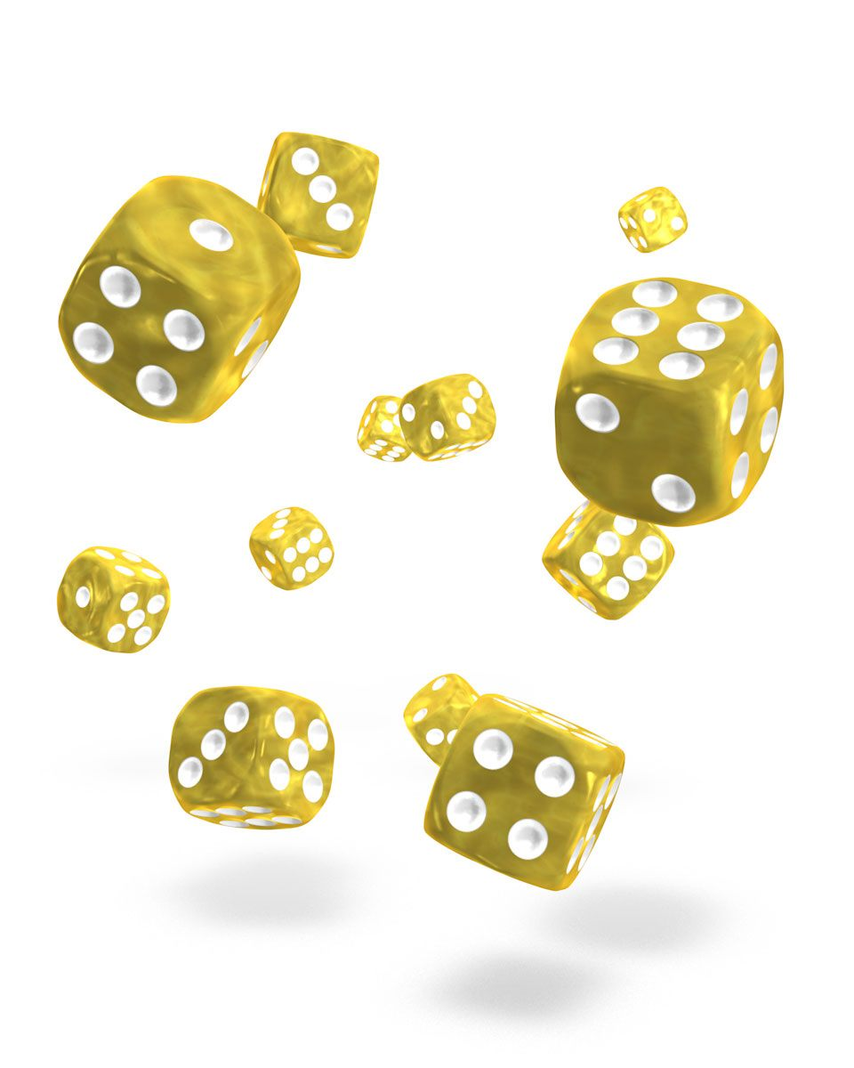 Oakie Doakie Dice D6 12 mm Marble Yellow 36