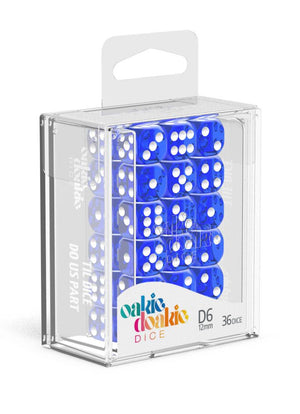 Oakie Doakie Dice 12 mm Translucent Blue 36