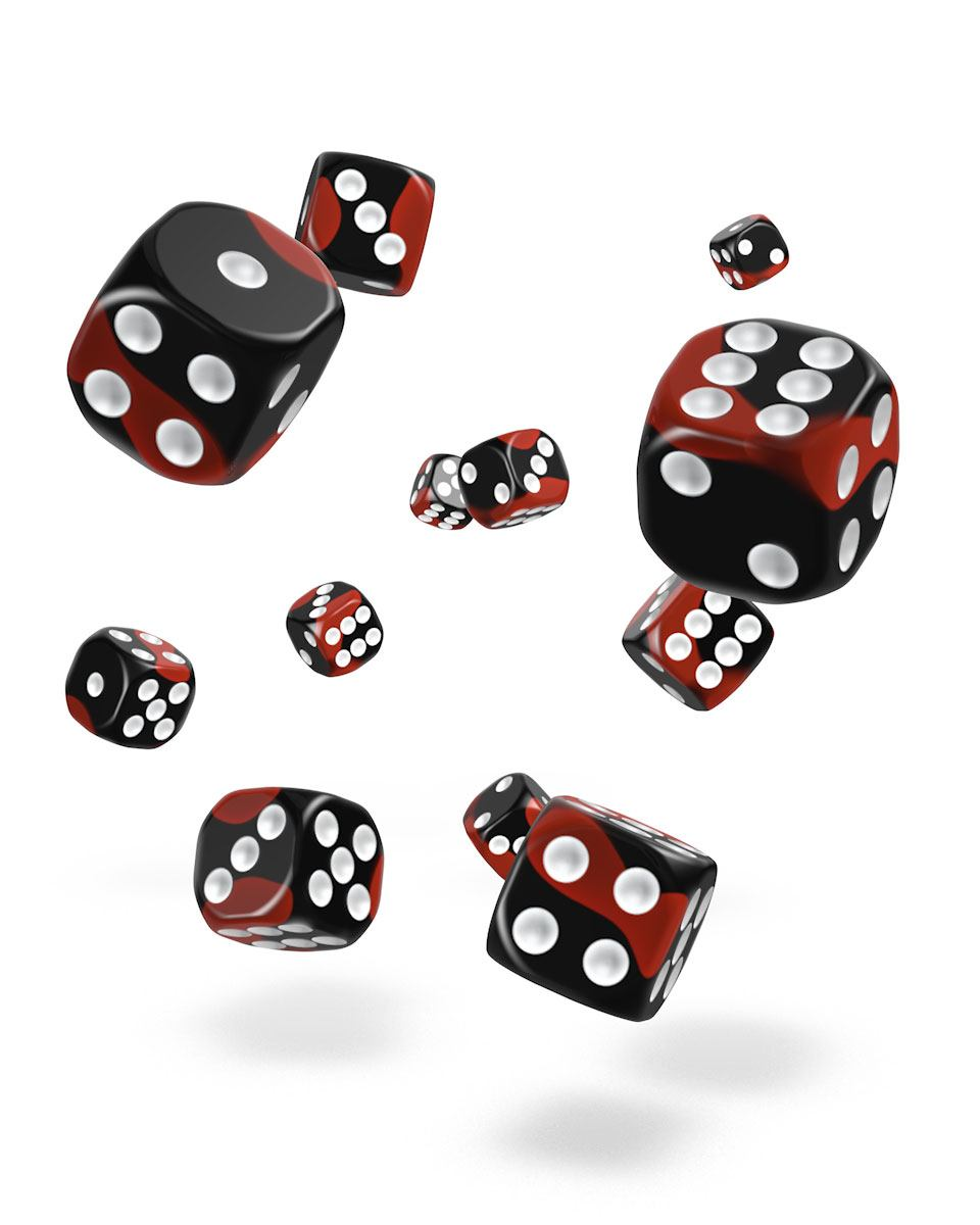 Oakie Doakie Dice D6 Dice 12 mm Glow in the Dark - Lava (36)