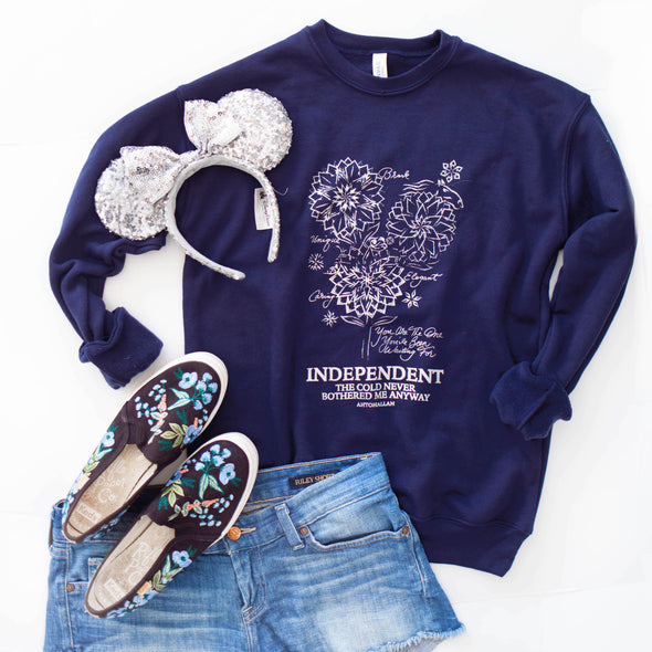 Botanical Princess Pullover Sweatshirt, Ice Dahlia