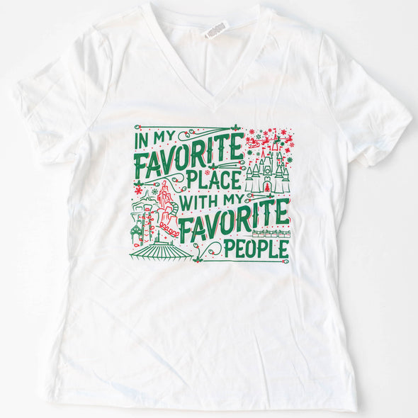 Christmas Favorite People Ladies Flowy V, White